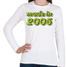 PRINTFASHION made-in-2005-green-grey - Női hosszú ujjú póló - Fehér