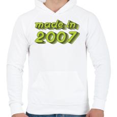 PRINTFASHION made-in-2007-green-grey - Férfi kapucnis pulóver - Fehér