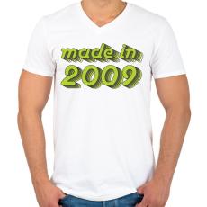PRINTFASHION made-in-2009-green-grey - Férfi V-nyakú póló - Fehér