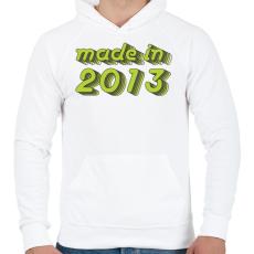 PRINTFASHION made-in-2013-green-grey - Férfi kapucnis pulóver - Fehér
