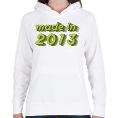 PRINTFASHION made-in-2013-green-grey - Női kapucnis pulóver - Fehér