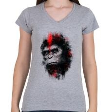 PRINTFASHION Majmok bolygója - Női V-nyakú póló - Sport szürke