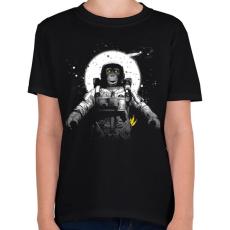 PRINTFASHION Majom az űrben - Gyerek póló - Fekete