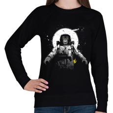 PRINTFASHION Majom az űrben - Női pulóver - Fekete