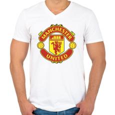 PRINTFASHION Manchester united - Férfi V-nyakú póló - Fehér