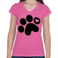 PRINTFASHION Mancsimádat  - Női V-nyakú póló - Rózsaszín