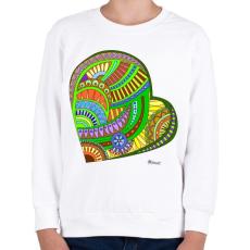PRINTFASHION Mandala szív - Gyerek pulóver - Fehér