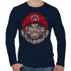 PRINTFASHION Mario - Férfi hosszú ujjú póló - Sötétkék