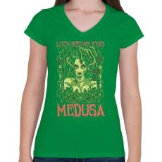 PRINTFASHION Medusa - Női V-nyakú póló - Zöld