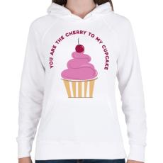PRINTFASHION Meggyes muffin - Női kapucnis pulóver - Fehér
