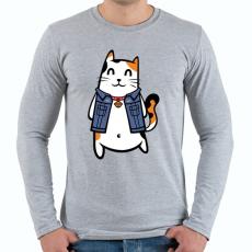 PRINTFASHION Menő macska - Férfi hosszú ujjú póló - Sport szürke