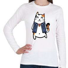 PRINTFASHION Menő macska - Női hosszú ujjú póló - Fehér