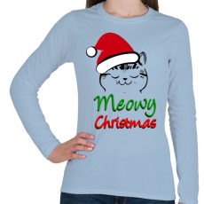 PRINTFASHION Meowy Christmas! - Női hosszú ujjú póló - Világoskék