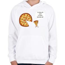 PRINTFASHION Mérges pizza - Gyerek kapucnis pulóver - Fehér