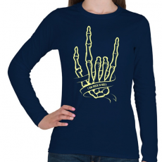 PRINTFASHION Metál kéz - Női hosszú ujjú póló - Sötétkék