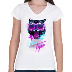 PRINTFASHION Miami tiger - Női V-nyakú póló - Fehér