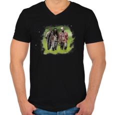 PRINTFASHION Michonne - Férfi V-nyakú póló - Fekete