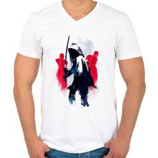PRINTFASHION Michonne The Walking Dead - Férfi V-nyakú póló - Fehér