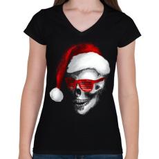 PRINTFASHION Mikulás koponya - Női V-nyakú póló - Fekete