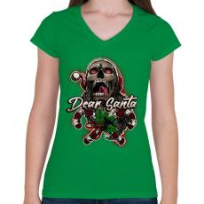 PRINTFASHION Mikulás koponya - Női V-nyakú póló - Zöld