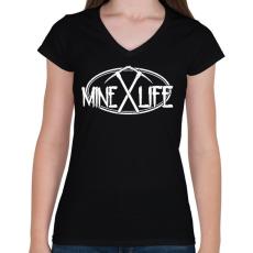 PRINTFASHION Minecraft - bányász élet - Női V-nyakú póló - Fekete
