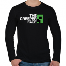 PRINTFASHION Minecraft - Creeper Face - Férfi hosszú ujjú póló - Fekete
