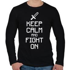 PRINTFASHION Minecraft - Csak nyugi és harcolj! - Férfi hosszú ujjú póló - Fekete