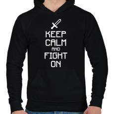PRINTFASHION Minecraft - Csak nyugi és harcolj! - Férfi kapucnis pulóver - Fekete