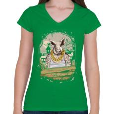 PRINTFASHION Mocskos disznó - Női V-nyakú póló - Zöld