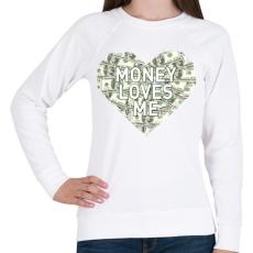 PRINTFASHION Money loves me - Női pulóver - Fehér