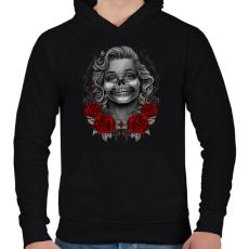 PRINTFASHION Monroses Skull - Férfi kapucnis pulóver - Fekete