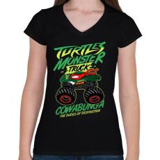 PRINTFASHION Monster Teknős - Női V-nyakú póló - Fekete