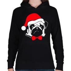 PRINTFASHION Mopsz karácsony - Női kapucnis pulóver - Fekete
