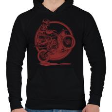 PRINTFASHION Motocross - Férfi kapucnis pulóver - Fekete