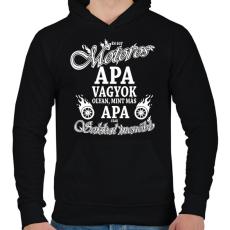 PRINTFASHION Motoros APA - Férfi kapucnis pulóver - Fekete