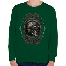 PRINTFASHION Motoros koponya - Gyerek pulóver - Sötétzöld