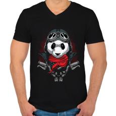 PRINTFASHION Motoros panda - Férfi V-nyakú póló - Fekete
