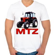 PRINTFASHION MTZ traktor - Férfi V-nyakú póló - Fehér