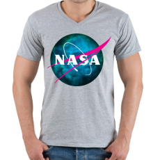 PRINTFASHION NASA NEBULA - Férfi V-nyakú póló - Sport szürke
