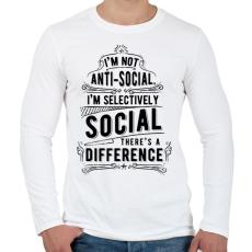 PRINTFASHION Nem vagyok antiszociális - Férfi hosszú ujjú póló - Fehér