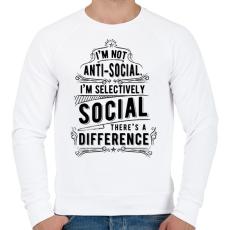 PRINTFASHION Nem vagyok antiszociális - Férfi pulóver - Fehér