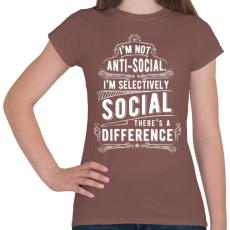 PRINTFASHION Nem vagyok antiszociális - Női póló - Mogyoróbarna