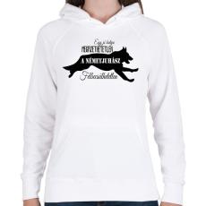 PRINTFASHION németjuhász - Női kapucnis pulóver - Fehér