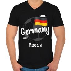 PRINTFASHION Németország - Férfi V-nyakú póló - Fekete