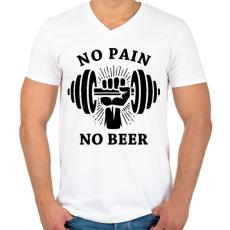 PRINTFASHION Nincs fájdalom, nincs sör - Férfi V-nyakú póló - Fehér