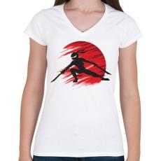 PRINTFASHION Ninja - Női V-nyakú póló - Fehér