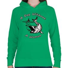 PRINTFASHION Nő mentes nap - Női kapucnis pulóver - Zöld