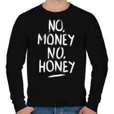 PRINTFASHION No Money No Honey - fehér - Férfi pulóver - Fekete