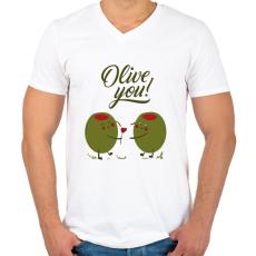 PRINTFASHION Oliva szerelem - Férfi V-nyakú póló - Fehér