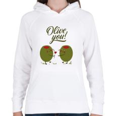 PRINTFASHION Oliva szerelem - Női kapucnis pulóver - Fehér